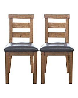 Shropshire Rustic Pine Pair of Chairs