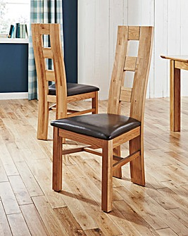 Rutland Pair Of Solid Oak Dining Chairs