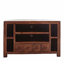 Java Ready Assembled Solid Acacia Wood Corner TV Unit
