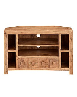 Java Ready Acacia Wood Corner TV Unit