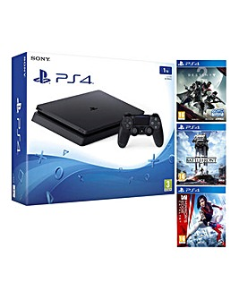 PS4 Slim 1TB Black + 3 Games