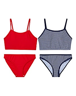 KD Girls Pack of Two Gingham Bikinis