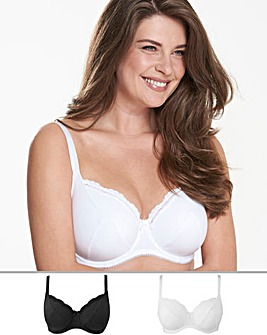 Pretty Secrets 2Pack Sophie Full Cup Cotton Rich Black/White Bras