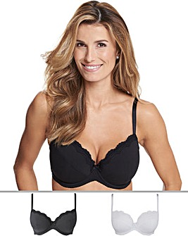 Pretty Secrets 2Pack Sophie Plunge Cotton Rich Black/White Bras