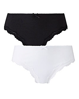 2 Pack Sophie Cotton Black/White Briefs