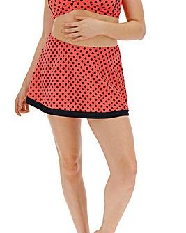 Coral Polka Dot Bikini Skort