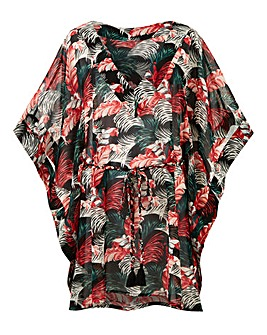 Tropical Print Beach Kaftan