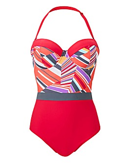 Print Panelled Multiway Bandeau Swimsuit