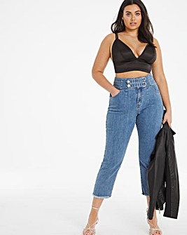 Stonewash Tab Waist Ashley Crop Straight Leg Jeans