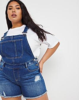 Vintage Blue Ripped Hem Dungaree Shorts