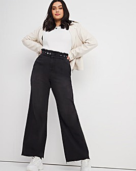 Joss Washed Black Wide Leg Jeans