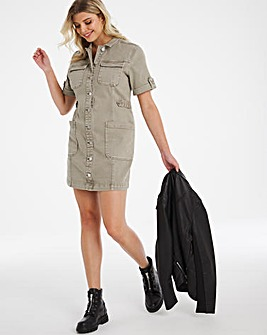 Soft Khaki Denim Utility Mini Dress