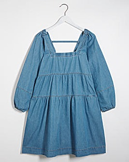 Mid Blue Lightweight Denim Smock Dress with Square Neck
