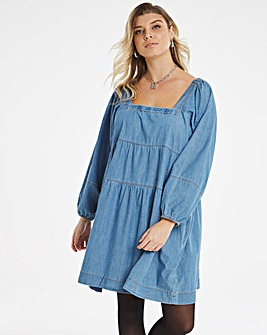 Mid Blue Lightweight Denim Smock Dress