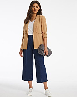 Jersey Denim Button Front Culottes