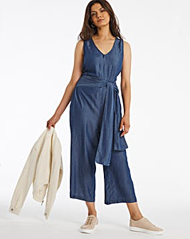 Mid Blue Soft Lyocell Denim V Neck Tie Waist Culotte Jumpsuit