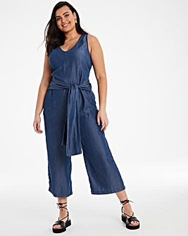Mid Blue Soft Tencel Denim V Neck Tie Waist Culotte Jumpsuit