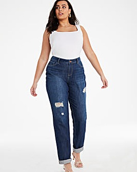 Vintage Wash Riley Ripped Non Stretch Slouch Boyfriend Jeans