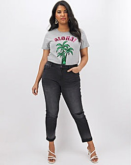 Fern Washed Black Slim Boyfriend Jeans