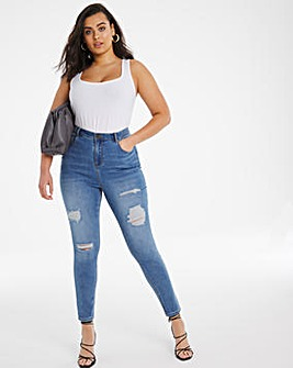 Stonewash Chloe Ripped Skinny Jeans