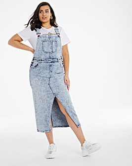 Blue Acid Wash Maxi Dungaree Dress