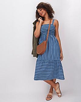 Striped Strappy Lightweight Denim Dress