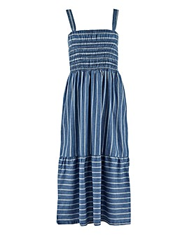 Striped Strappy Lightweight Denim Dress