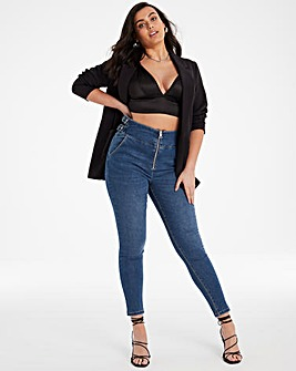 Chloe Blue Buckle Side Skinny Jeans