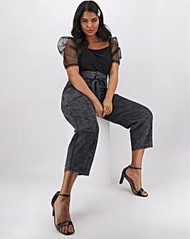 Black Acid Wash Belted Tapered Jeans