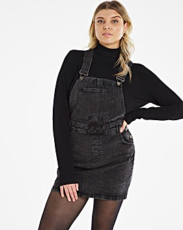 Black Acid Wash Dungaree Dress