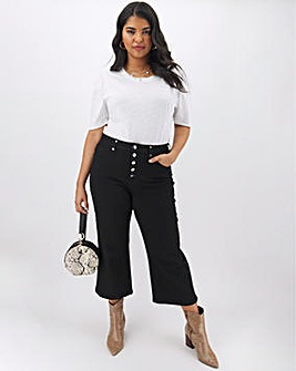 Joss Button Front Crop Wide Leg Jeans