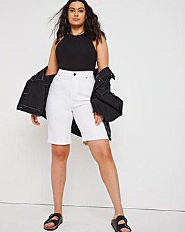 24/7 White Knee Length Denim Shorts made with Organic Cotton