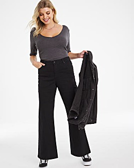 24/7 Black Wide Leg Jeans made with Organic Cotton