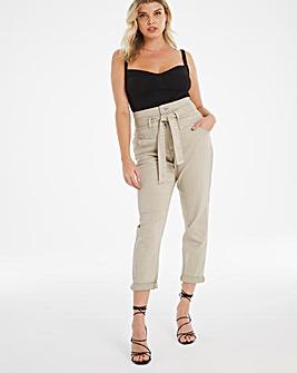 Sage Green Belted Mom Jeans