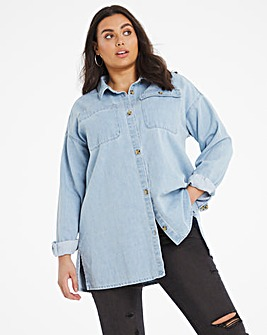 Mid Blue Oversized Denim Shacket with Stepped Hem