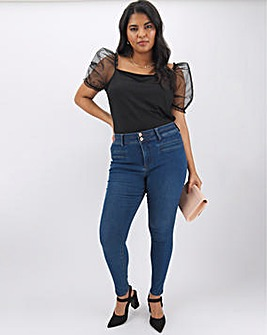 Shape & Sculpt Mid Blue Apple Fit Skinny Jeans