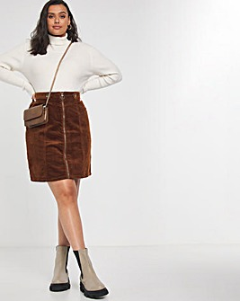 Tan Stretch Cord Zip Front Mini Skirt