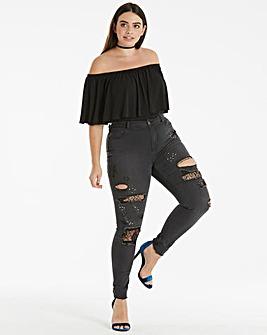 Chloe Lace Patch Studded Skinny Jeans