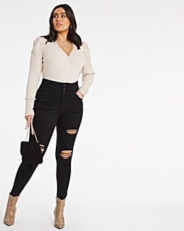 Shape & Sculpt Washed Black Extra High Waist Ripped Skinny Jeans