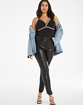 Black PU Leather Look High Waist Skinny Jeans