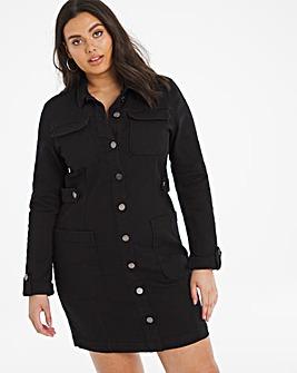 Black Denim Utility Mini Dress