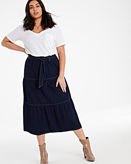 Indigo Tiered Denim Midaxi Skirt