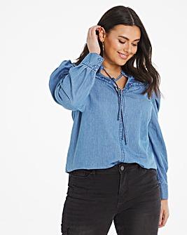 Mid Blue Keyhole Denim Shirt