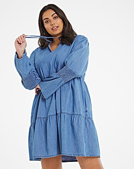 Mid Blue Keyhole Denim Smock Dress