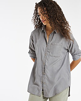 Soft Grey Relaxed Tencel Shirt