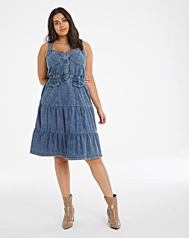 Blue Acid Wash Strappy Midi Dress
