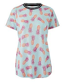 Pineapple Print Sports Rib T-Shirt