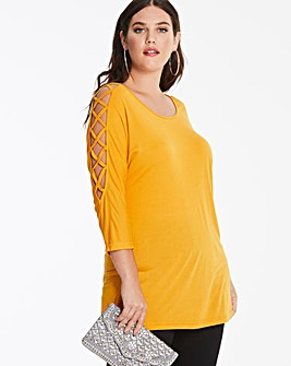 Ochre Criss Cross 3/4 Sleeve Top