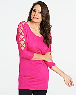 Bright Pink Criss Cross 3/4 Sleeve Top