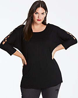 Black Criss Cross 3/4 Sleeve Top